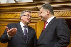 Bronislaw Komorowski和Petro波罗申科 库存照片