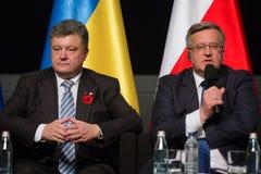 Bronislaw Komorowski e Petro Poroshenko Imagens de Stock Royalty Free