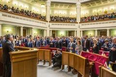 Bronislaw Komorowski im Verkhovna Rada von Ukraine Lizenzfreies Stockfoto