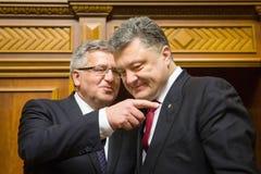 Bronislaw Komorowski och Petro Poroshenko Arkivbild