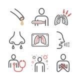 Bronkitlinje symboler Infographic symbol Vektortecken för rengöringsdukdiagram royaltyfri illustrationer