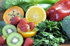 Bronnen van Vitamine C voor het Gezonde Dieet van de Geschiktheid - close-up Royalty-vrije Stock Foto