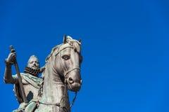 Brons den rid- statyn av konungen Philip III i Madrid, Spanien Närbild Kopiera utrymme för text Royaltyfri Bild
