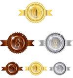 Brons för silver för vinnare för 123 emblem guld- Royaltyfria Bilder