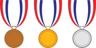 Brons, Gouden, Zilveren Metalen royalty-vrije illustratie