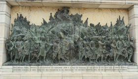 Brons herdenkingspaneel in Victoria Memorial Stock Fotografie