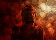 Brons röda Zen Buddha Statue Raised Palm Royaltyfri Bild