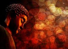 Brons Rood Zen Buddha Statue Meditating stock foto's