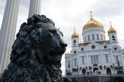 Brons skulptur av ett lejon-enfragment av monumentet till Alexander II i Moskva royaltyfri bild