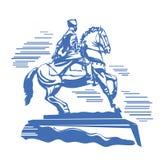 Brons statyn av en kosack som rider en snabbt växande häst stock illustrationer