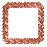 Brons vierkant kader van Lauriertakken Royalty-vrije Stock Afbeelding