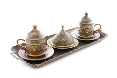 Brons voor Turkse koffie wordt geplaatst die. Royalty-vrije Stock Afbeeldingen