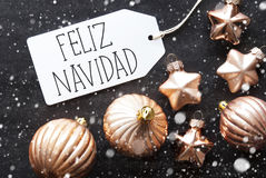 Bronsballen, Sneeuwvlokken, Feliz Navidad Means Merry Christmas Stock Foto's