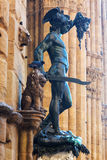 Bronsbeeldhouwwerk van Perseus in Florence, Italië stock afbeeldingen