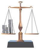 Bronse balance. Balance with an empty part and full part with the money Stock Photo