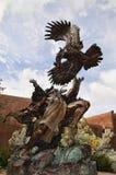 Bronser i den idérika staden av Santa Fe In New Mexico med dess mängd av gallerier och skulpturer och Adobebyggnader royaltyfri foto