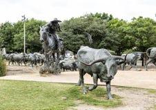 Bronsjonge ossen en Cowboy Sculpture Pioneer Plaza, Dallas royalty-vrije stock afbeeldingen