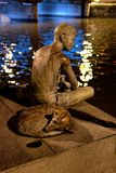 Bronsjongen, die bij de rivier van Singapore vissen Stock Foto's