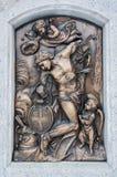 Bronslättnad av San Sebastian arkivbild