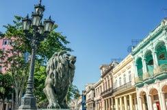Bronsleeuw en historische gebouwen bij de Boulevard van Gr Prado, een beroemd oriëntatiepunt in Havana stock foto