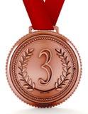 Bronsmedaille met nummer drie 3D Illustratie Royalty-vrije Stock Afbeeldingen