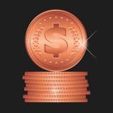 Bronsmuntstuk Gedetailleerde vectorillustratie Royalty-vrije Stock Afbeelding