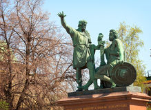 Bronsstandbeeld die Minin en Pozharsky eren bij Rood Vierkant in Mosc Royalty-vrije Stock Afbeeldingen