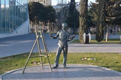 Bronsstaty av konstnären, Baku Azerbaijan Royaltyfria Foton