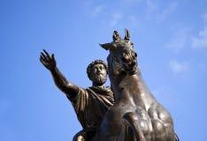 Bronsstaty av Marcus Aurelius, roman kejsare. Royaltyfria Bilder