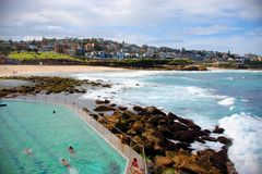 Bronte Beach, Sydney / Australia - February 2, 2017: View of the beach and the pool on a sunny day. Royalty Free Stock Photo