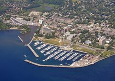 Bronte Marina aerial. Aerial view of Oakville Bronte marina during Summer, Oakville Ontario Canada Royalty Free Stock Photos