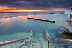 Bronte Pool at Dawn. The stairs leading down into  Bronte rock pool at Bronte Beach, Sydney as the dawn light colours the sky.  The pool is built on the Royalty Free Stock Photos
