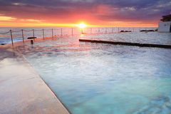 Bronte Sunrise Sydney Australia. Views from the pool edge as the sun rises on another day.  Location, Bronte Baths, Bronte Sydney Australia Royalty Free Stock Images