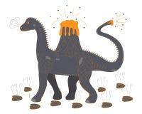 Brontosaur avec un volcan sur un dos Photographie stock libre de droits