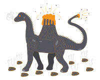 Brontosaur with a volcano on a back Royalty Free Stock Photography