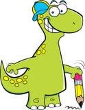 Brontosaurus die een potlood houdt stock illustratie
