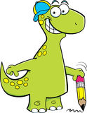 Brontosaurus holding a pencil stock illustration