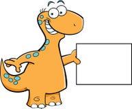 Brontosaurus met een teken vector illustratie