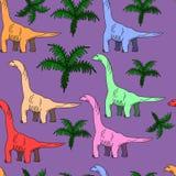 Brontosaurus naadloze vectorillustratie royalty-vrije illustratie
