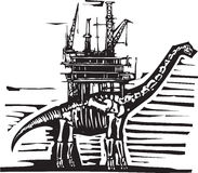 Brontosaurus Oil Rig. Woodcut style image of a fossil of a brontosaurus apatosaurus dinosaur with an oil rig on its back Stock Images