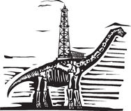 Brontosaurus Oil Well Drill. Woodcut style image of a fossil of a brontosaurus apatosaurus dinosaur with an oil well on its back Stock Photography