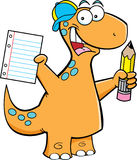 Brontosaurus with a pencil Royalty Free Stock Image