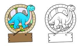 Brontosaurus voor een gang royalty-vrije illustratie