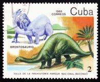 Brontozaur, serie poświęcać prehistoryczni zwierzęta około 1985, Fotografia Royalty Free