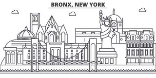 Bronx, New York architecture line skyline illustration. Linear vector cityscape with famous landmarks, city sights Royalty Free Stock Photos