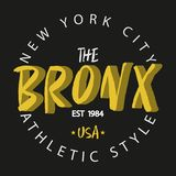 Bronx. New York. Athletic style apparel typography. Royalty Free Stock Photo