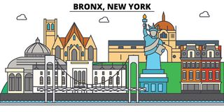 Bronx, New York. City skyline, architecture, buildings, streets, silhouette, landscape, panorama, landmarks, icons Royalty Free Stock Photography