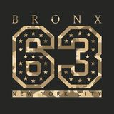 Bronx New York Designkläder med kamouflage, t-skjortor sportar vektor illustrationer