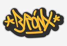 Bronx New York USA som Hip Hop gällde etikettsgrafitti, påverkade etiketttecknet Logo Hand Drawn Lettering för t-skjorta eller st stock illustrationer