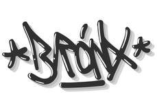 Bronx New York USA som Hip Hop gällde etikettsgrafitti, påverkade etiketttecknet Logo Hand Drawn Lettering för t-skjorta eller st royaltyfri illustrationer